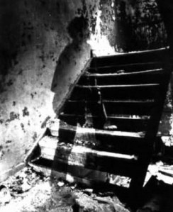 This photograph was taken during the American Civil War. A ghost, believed to be that of a dead soldier, was captured walking up these stairs in a basement